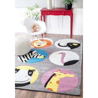 nuLOOM Handmade Modern Animals Grey Kids Rug (5' x 7'6)