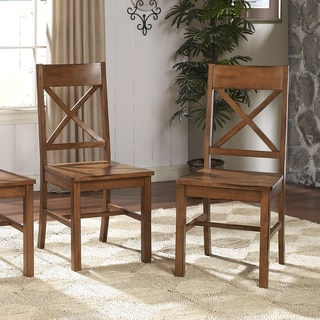 Antique Brown Wood Dining Chairs (Set of 4)