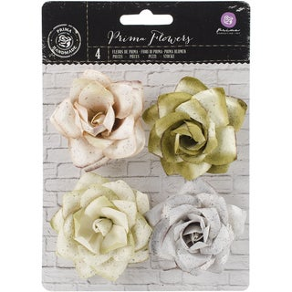 Kindled Mulberry Paper Flowers 2.5in 4/PkgLush