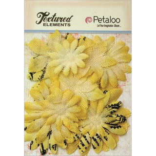 Textured Elements Burlap/Canvas Daisy Layers 2in To 3.5in 15pkYellow