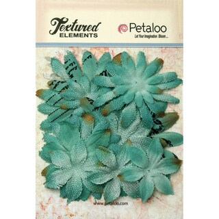 Textured Elements Burlap/Canvas Daisy Layers 2in To 3.5in 15pkTeal