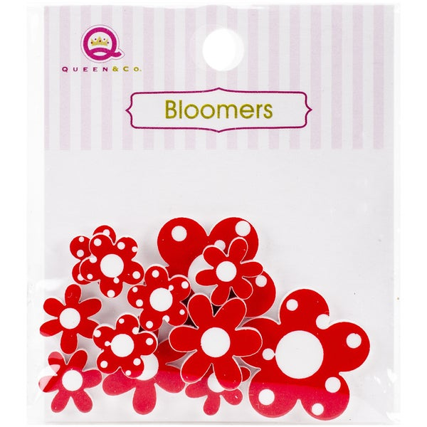 Bloomers Resin Flowers Assorted Sizes 12/PkgRed