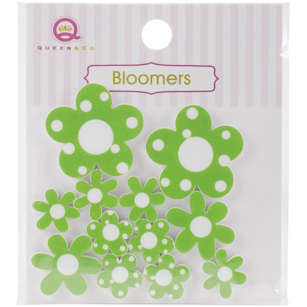 Bloomers Resin Flowers Assorted Sizes 12/PkgGreen