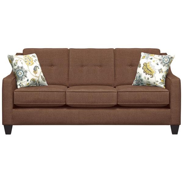 Art Van Fidelity Mink Sofa with Spring Mix Aloe Pillows