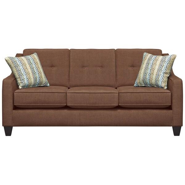 Art Van Fidelity Mink Sofa with Extinction Dusty Blue Pillows