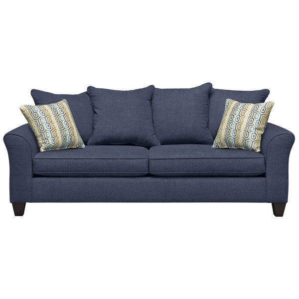 Art Van Olivia Navy Sofa with Extinction Dusty Blue Pillows