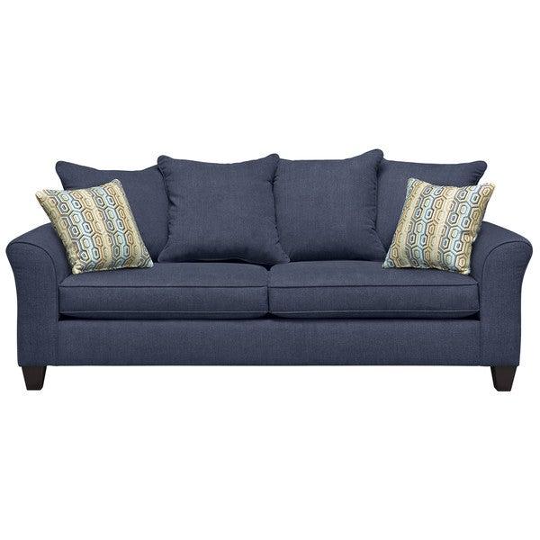 Art Van Olivia Navy Sofa with Extinction Dusty Blue Pillows