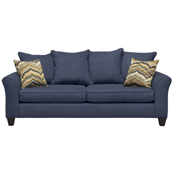 Art Van Olivia Navy Sofa with Thorn Bird Bunting Pillows