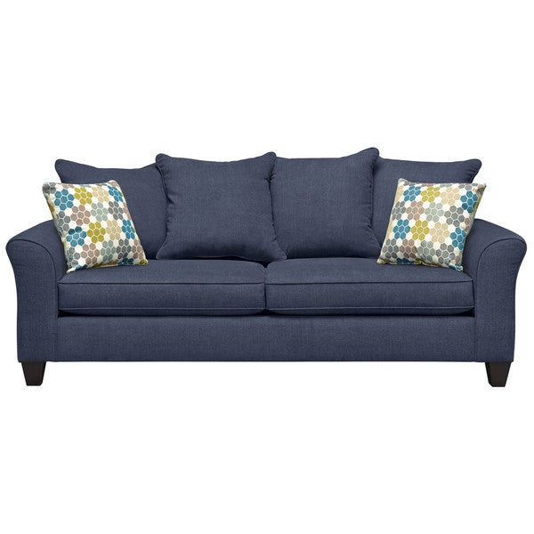 Art Van Olivia Navy Sofa with Honeycomb Throw Pillows
