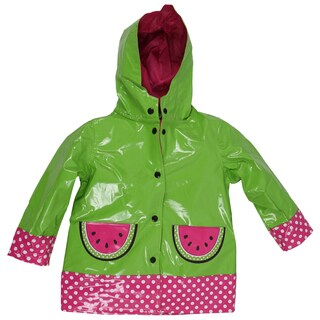 Wippette Girls' Waterproof Hooded Watermelon Raincoat