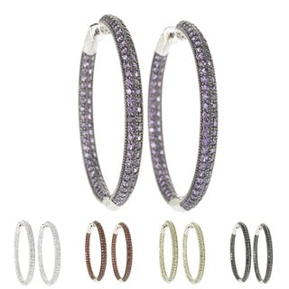 Sterling Silver Pave Gemstone Inside-out Hoop Earrings