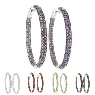 Sterling Silver Pave Gemstone Inside-out 2-inch Hoop Earrings with Clicker Lock