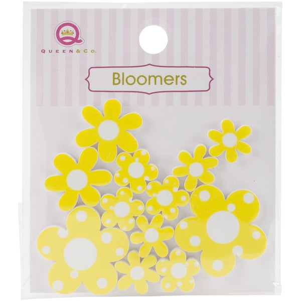 Bloomers Resin Flowers Assorted Sizes 12/PkgYellow