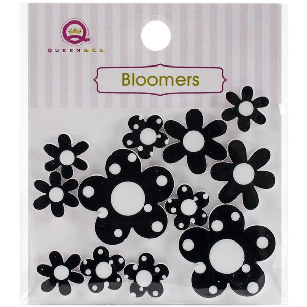 Bloomers Resin Flowers Assorted Sizes 12/PkgBlack