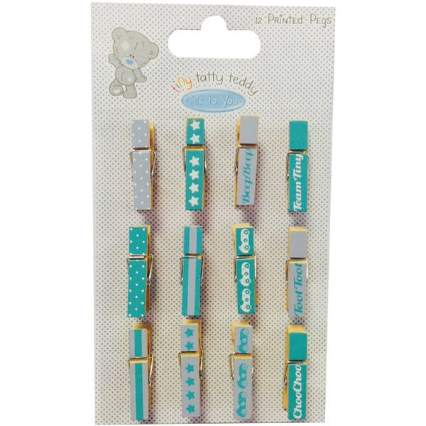 Tiny Tatty Teddy Mini Pegs Clothespins 12/PkgBoy