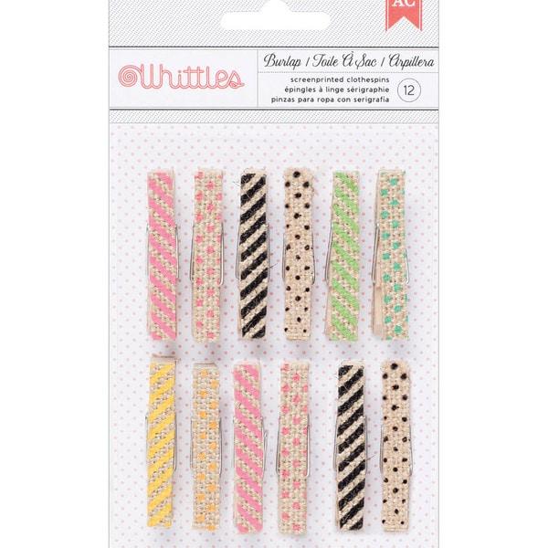 Whittles Clothespins 12/PkgBurlap Prints