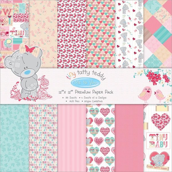 Trimcraft Paper Pack 12inX12in 36/PkgTiny Tatty Teddy Girl