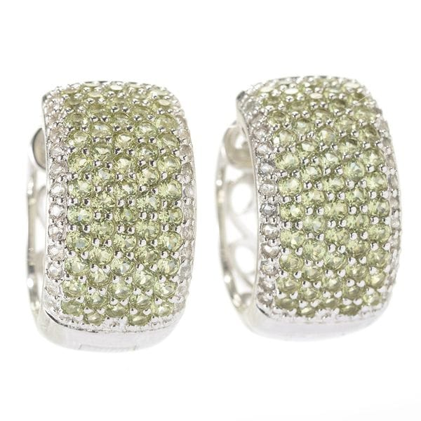 Sterling Silver Pave Gemstone Wide Hoop Earrings