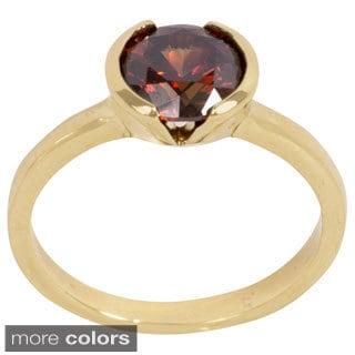 NEXTE Jewelry Goldtone or Silvertone Bezel-set Chocolate Cubic Zirconia Solitiare Ring