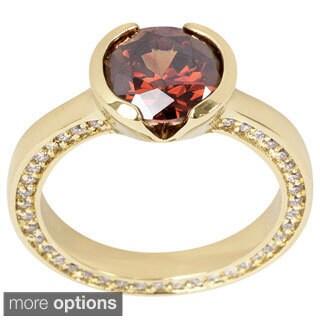 NEXTE Jewelry Goldtone or Silvertone Bezel-set Chocolate Cubic Zirconia Ring