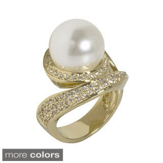 NEXTE Jewelry Goldtone or Silvertone Faux Pearl Cubic Zirconia Swirl Style Ring