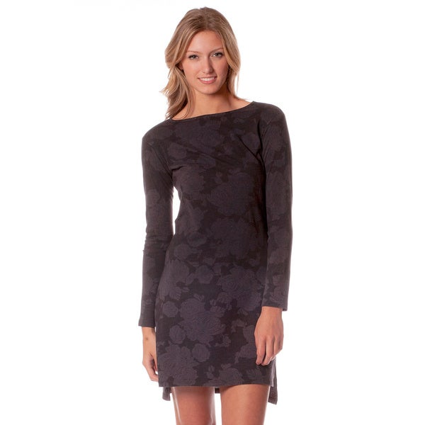 AtoZ Women's Floral Boatneck Long Sleeve Dress