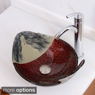 Elite Mermaid IVY+882002 Pattern Tempered Glass Bathroom Vessel Sink With Faucet Combo