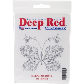 Deep Red Cling Stamp 3inX2.5inFloral Butterfly