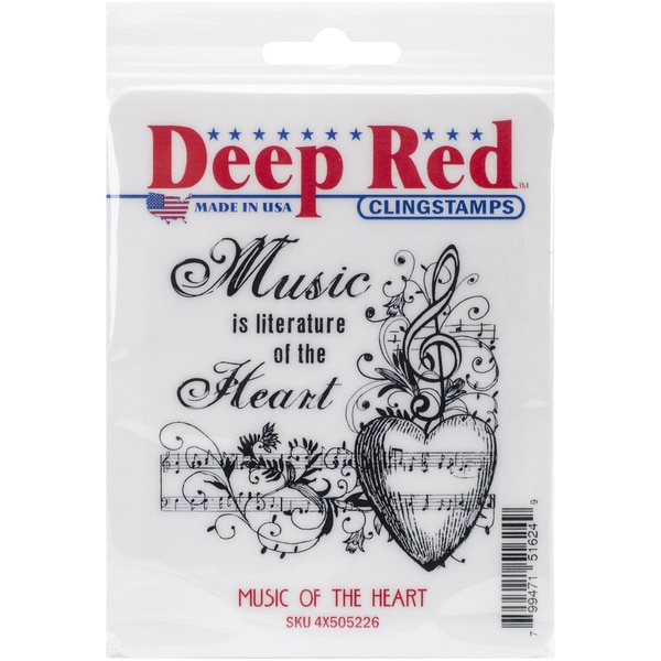 Deep Red Cling Stamp 3inX3inMusic Of The Heart