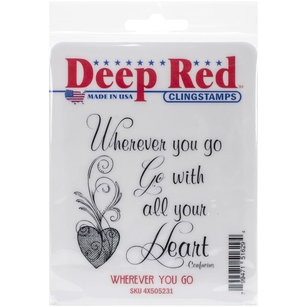 Deep Red Cling Stamp 3inX3inWherever You Go