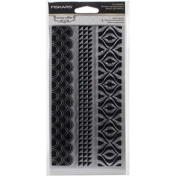 Fiskars Teresa Collins 4inX8in Clear StampsGeo Borders