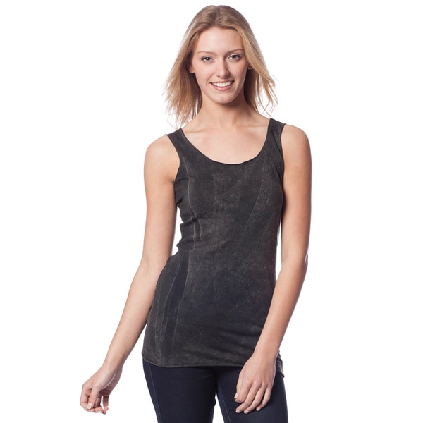 AtoZ Women's Cotton Antique Wash Scoop Neck Tank