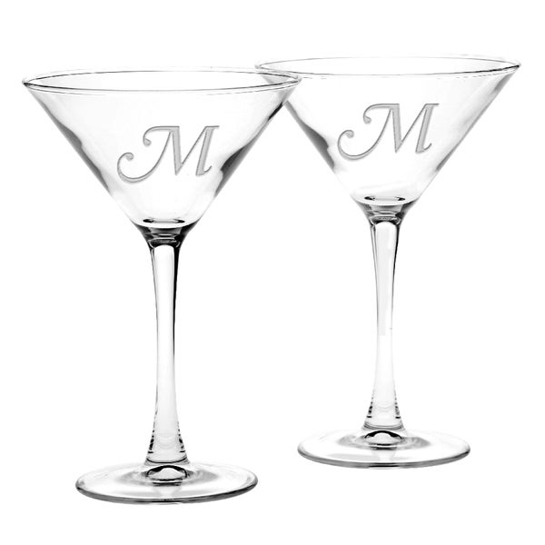 Culver Deep Etched Martini Glass Monogrammed Letter (Set of 2)