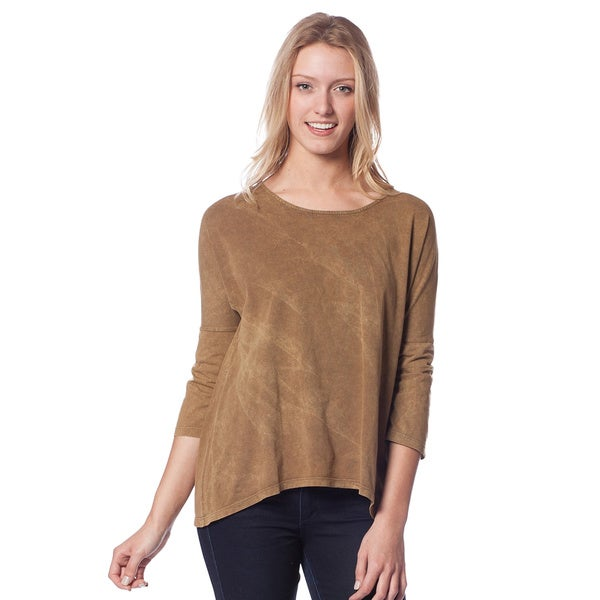 AtoZ Women's Antique Wash Crew Neck Relaxed Fit Top