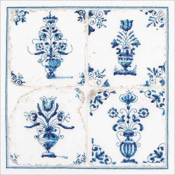 Antique Tiles, Floral Vases On Aida Counted Cross Stitch Kit11inX11in 18 Count