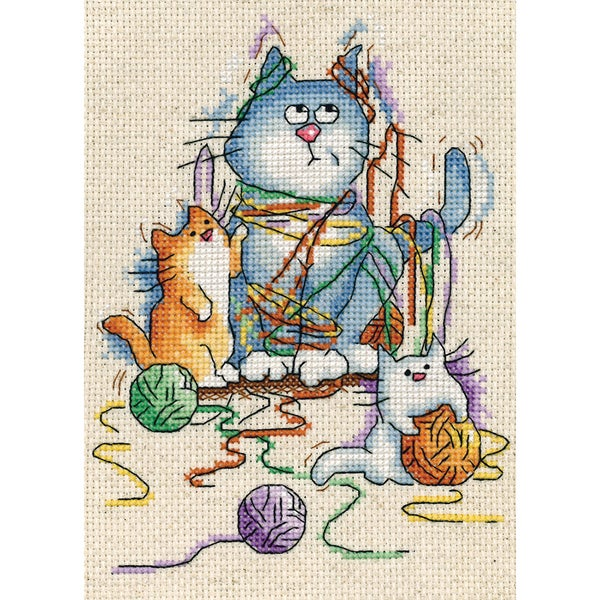 Yarn Cats Counted Cross Stitch Kit5inX7in 14 Count 15415539