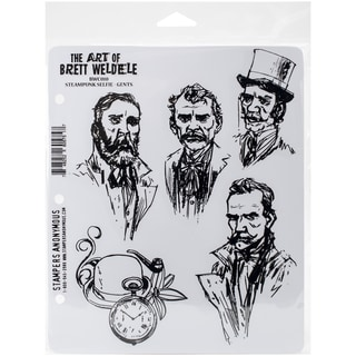 Brett Weldele Cling Rubber Stamp Set 7inX8.5inSteampunk Selfie Gents
