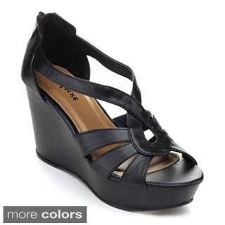 STYLUXE OVAL-18 Women's Strappy Back Zip Platform Wedge Sandals