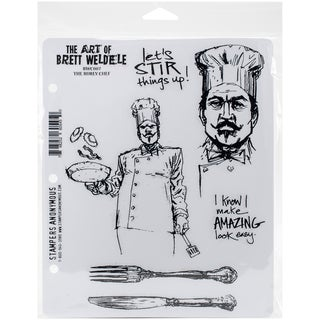 Brett Weldele Cling Rubber Stamp Set 7inX8.5inThe Burly Chef