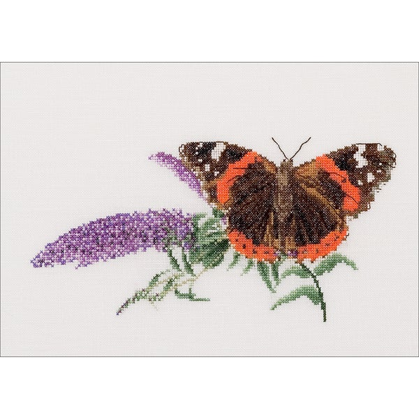Butterfly/Buddleja On Aida Counted Cross Stitch Kit11.5inX7in 18 Count