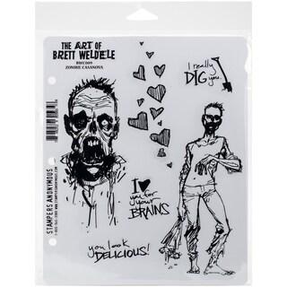 Brett Weldele Cling Rubber Stamp Set 7inX8.5inZombie Casanova