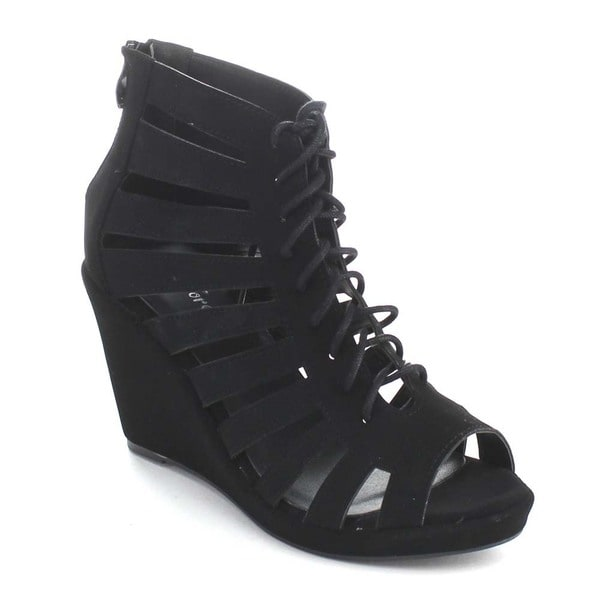 Forever Women's 'Olesia-99' Strappy Lace-up Back Zip Wedges