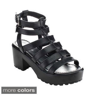 Forever Women's Ansley-56 Strappy Double Ankle Strap Chunky Heels