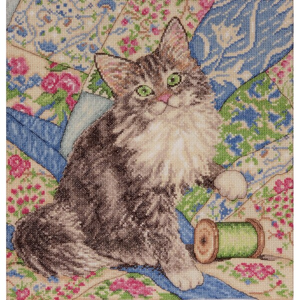 Cat On Quilt Counted Cross Stitch Kit12inX12in 14 Count 15416163