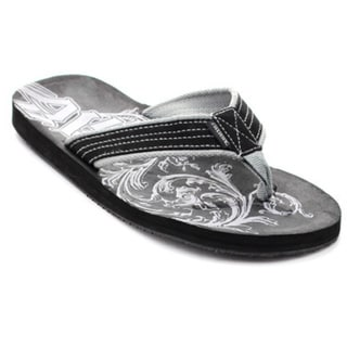 Jeair Men's MS1328 Printed Footbed Flip-flops