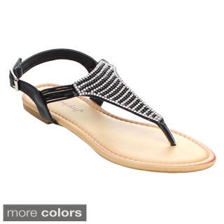 Rck Bella Women's Ario-21 Rhinestone T-strap Slingback Sandals