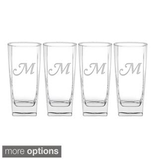 Culver Deep Etched Cooler Glass Monogrammed Letter (Set of 4)