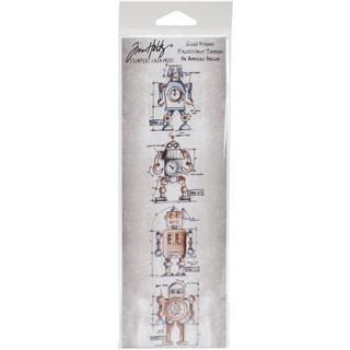 Tim Holtz Mini Blueprints Strip Cling Rubber Stamps 3inX10inRobot