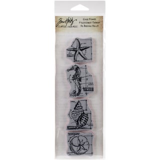 Tim Holtz Mini Blueprints Strip Cling Rubber Stamps 3inX10inNautical