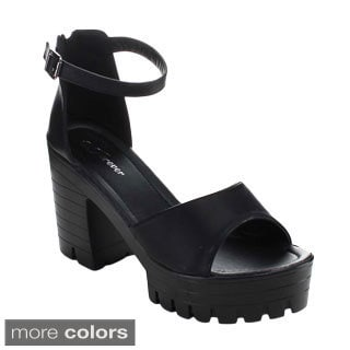 Forever Women's Amarie-14 Ankle Strap Lug-sole Heels